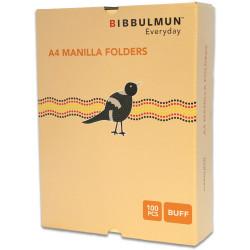 BIBBULMUN MANILLA FOLDER A4 Buff Pack of 100