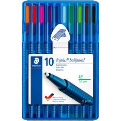 STAEDTLER TRIPLUS WALLET 437 Msb10 Ballpoint Pen Assorted Pack of 10